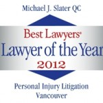 "Michael Slater Wins ""Vancouver Personal Injury Lawyer of the Year"""